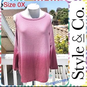 NWT Pink Ombré Thermal Knit Cold Shoulder Top 0X